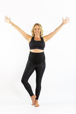 Pregnancy Support Leggings - Ankle Biter - Black Ink