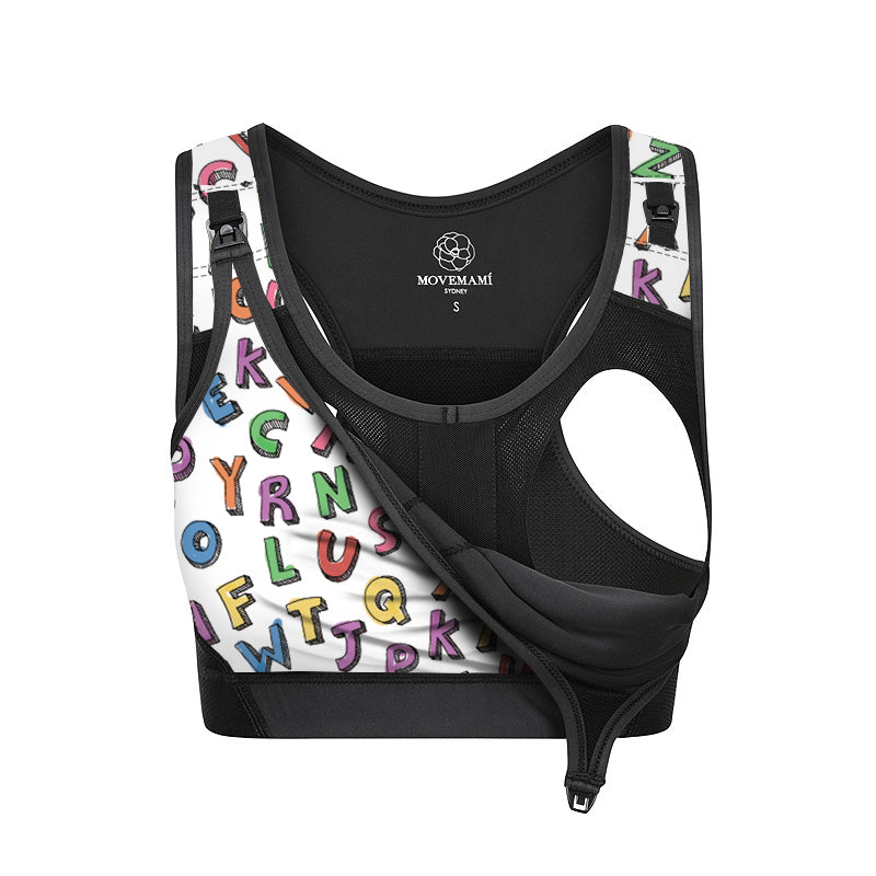 MOVEMAMÍ - 'SHINE' Colouring-In Coloring-In Nursing Sports Bra - Alpha Beta - MOVEMAMI - Best Maternity Activewear
