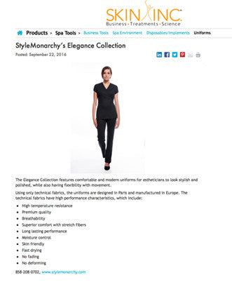 Skin Inc announced STYLEMONARCHY Elegance Collection: The ultimate Spa & Medical Uniforms