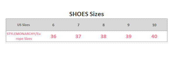 STYLEMONARCHY Shoes Collection Size Guide