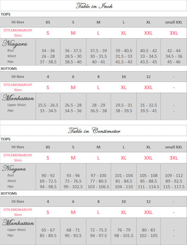 STYLEMONARCHY Spa Uniforms-Medical Uniforms Niagara-Manhattan Set Size Guide