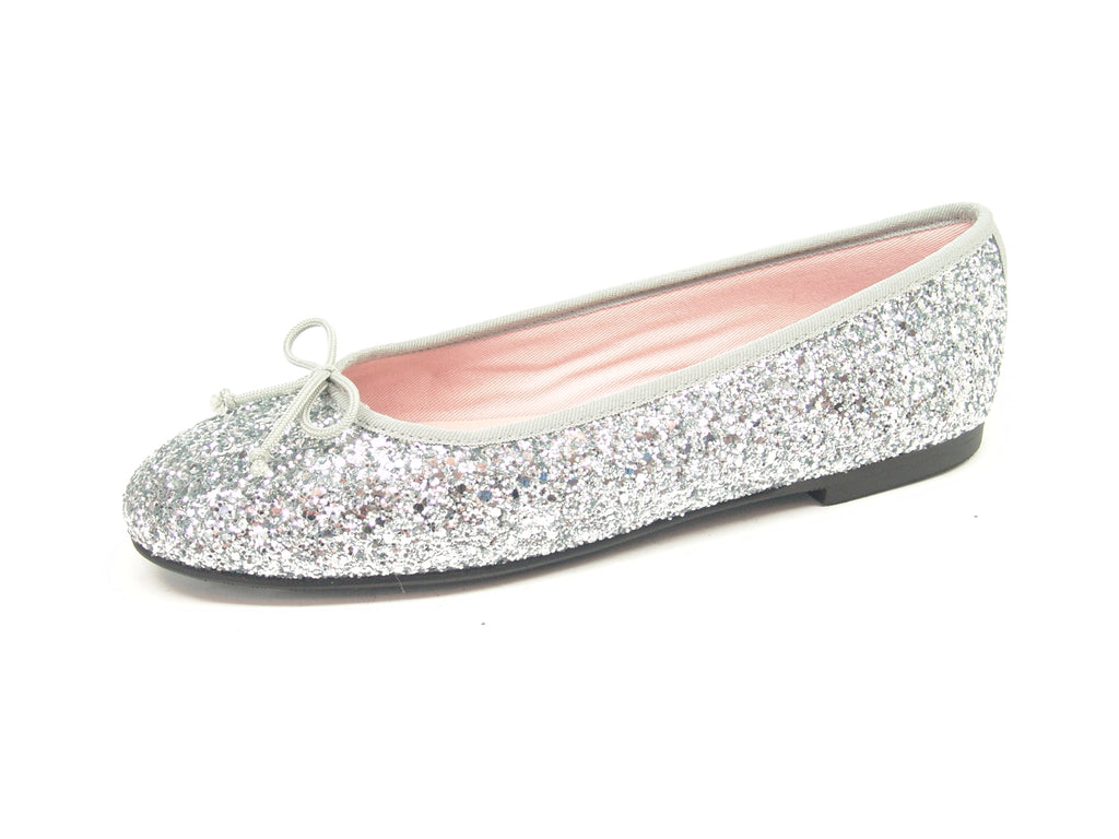 Leather Isabella Glitter Silver Professional Shoes for Spa, Welness, Medical - STYLEMONARCHY, Comfortable Flats - stylemonarchy.com