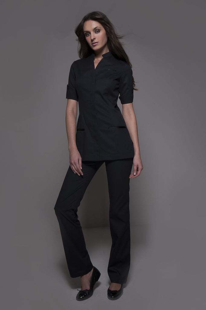 STYLEMONARCHY Spa Uniforms & Hospitality Uniforms. NIAGARA & CORDOBA Set (Black) - stylemonarchy.com