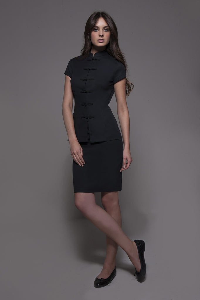 STYLEMONARCHY Spa Uniforms & Hospitality Uniforms. MANHATTAN Skirt (Black) - with Shanghai tunic - stylemonarchy.com