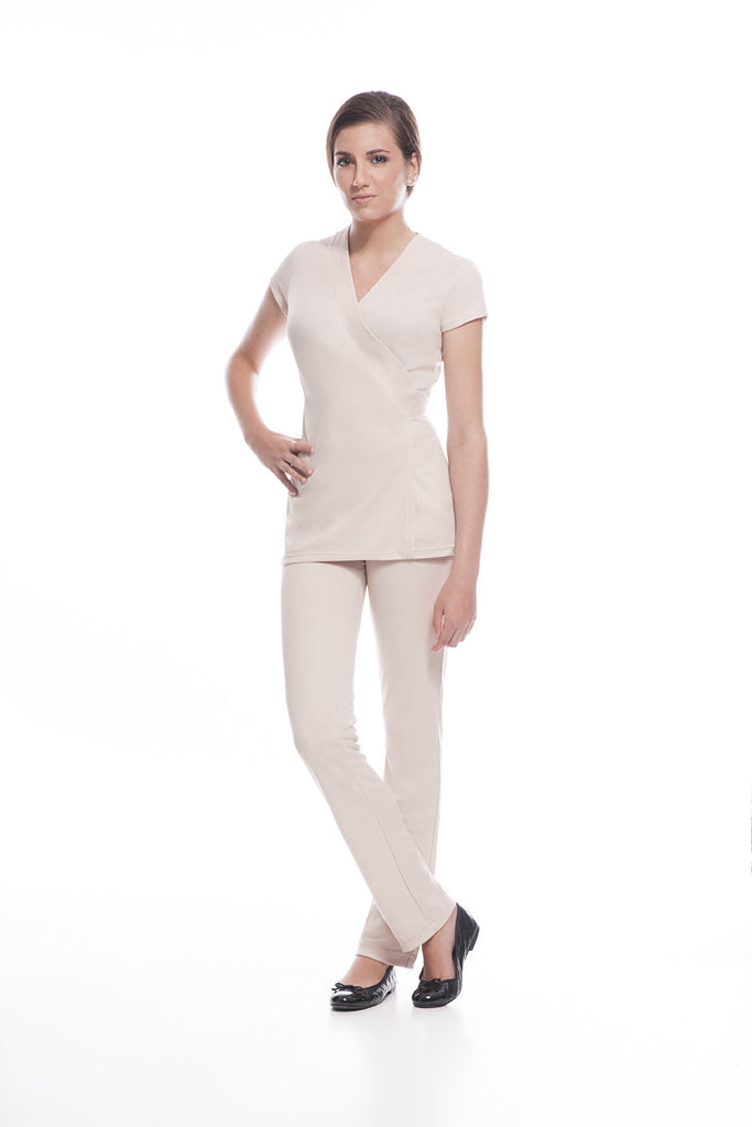 The STYLEMONARCHY SAO PAULO Tunic (Beige) & Cancun Pants is the most comfortable Spa Uniform in the market. Its revolutionary fabric provides ultra comfort, anti-sweat properties and fits like a glove!