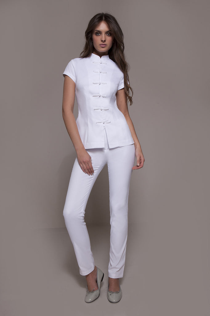 STYLEMONARCHY Spa Uniforms & Medical Uniforms. CORDOBA Pants (White), with Shanghai tunic- stylemonarchy.com