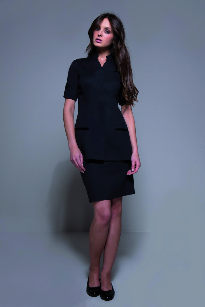 STYLEMONARCHY Spa Uniforms & Hospitality Uniforms. MANHATTAN Skirt (Black) - with Niagara tunic - stylemonarchy.com