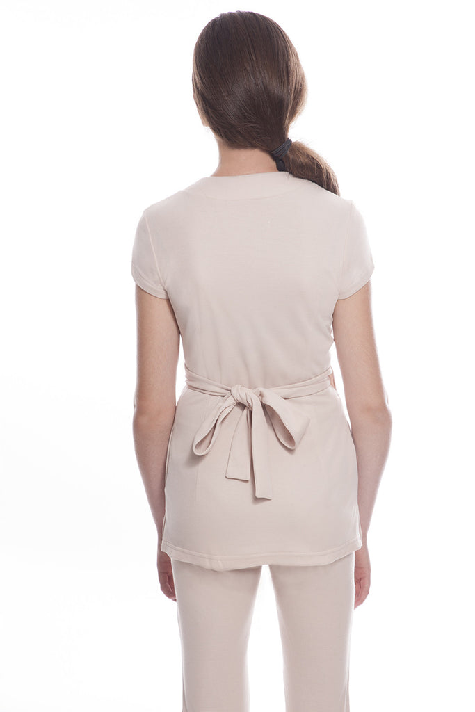 STYLEMONARCHY SAO PAULO Tunic (Beige), Back - This Spa Uniform tunic can be tied up in the back or on the side for two different looks!