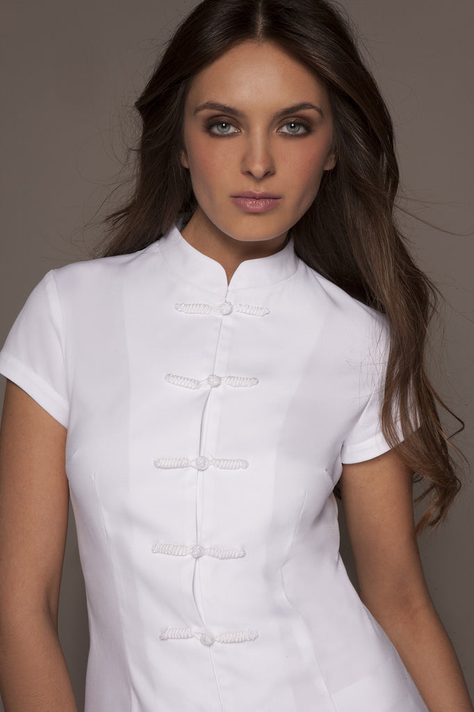 Spa uniforms shanghai tunic white stylemonarchy for Spa uniform tops