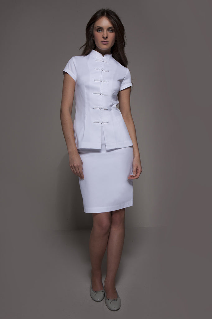 SHANGHAI Tunic (White) - Spa - Beauty - Medical, Tunics - stylemonarchy.com