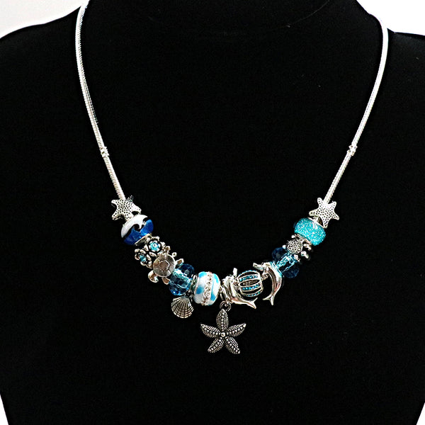 Ocean Theme Charm Necklace - Tea Palette