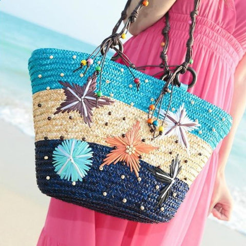 Beach Straw Bag - Tea Palette
