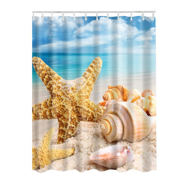 Seashell Shower Curtain Collection - Tea Palette