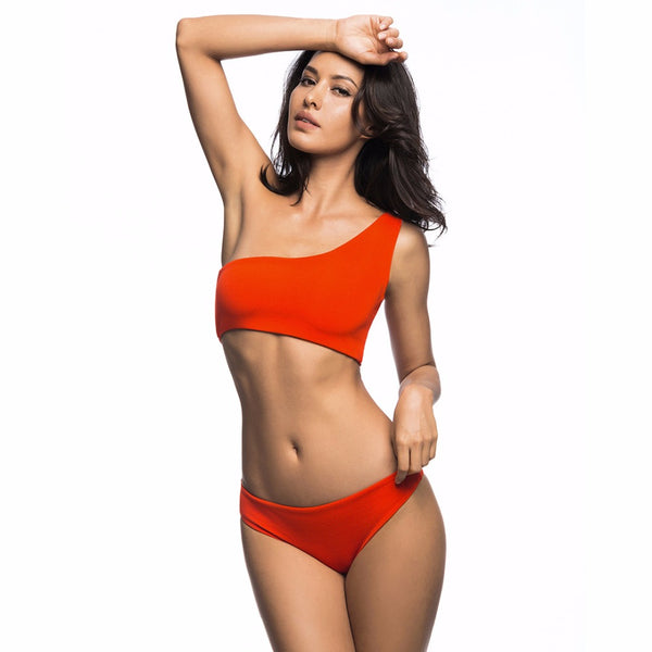 One Shoulder Slim Fit Bikini - Tea Palette