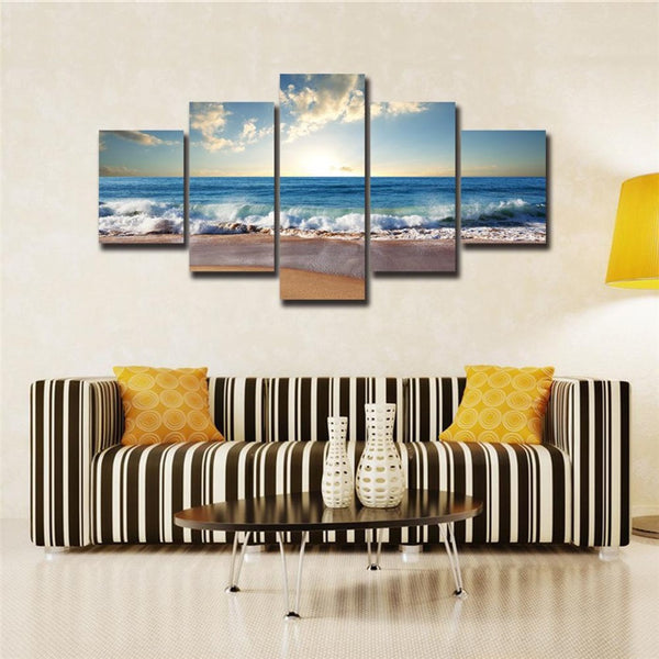 Beach Sunrise Five Panel Printed Canvas - Tea Palette