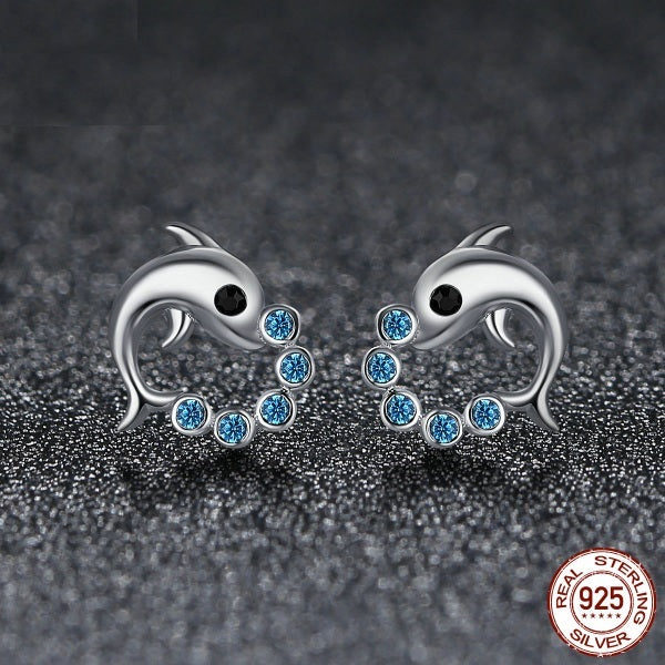 Dolphin Earrings 925 Sterling Silver - Tea Palette