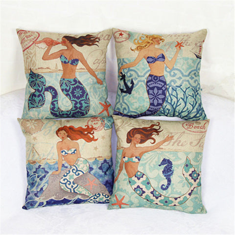 Mermaid Pillow Covers - Tea Palette