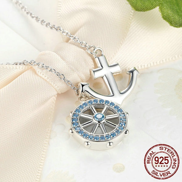 Anchor & Rudder Necklace 925 Sterling Silver - Tea Palette
