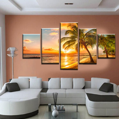 Beach Sunset Five Panel Printed Canvas - Tea Palette