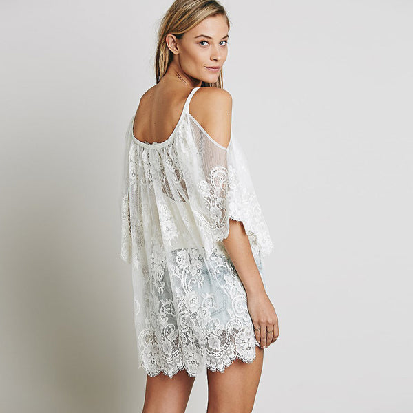 Floral Lace Beach Short Dress - Tea Palette