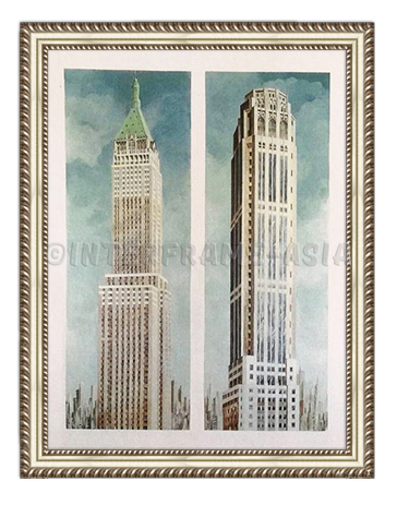 """Bank of Manhattan and Equitable Building"" - Painting On Canvas at INTERFRAME ASIA by Cesare Carra"