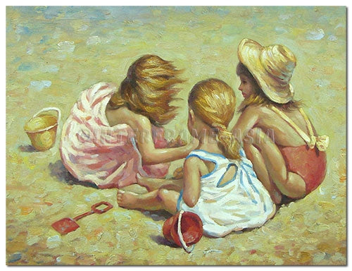 Children on Sand - Painting On Canvas at INTERFRAME-ASIA