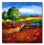 RED FLOWER FIELD - Painting On Canvas at INTERFRAME-ASIA