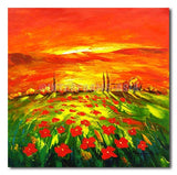 SUNSET POPPIES FIELD - Painting On Canvas at INTERFRAME-ASIA