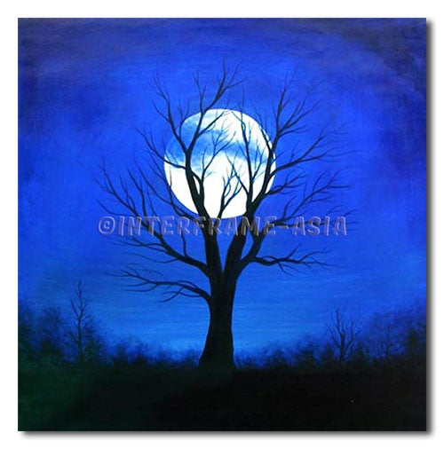 TREE ON BLUE - Painting On Canvas at INTERFRAME-ASIA