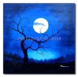 Tree on Blue Moon - Painting On Canvas at INTERFRAME-ASIA
