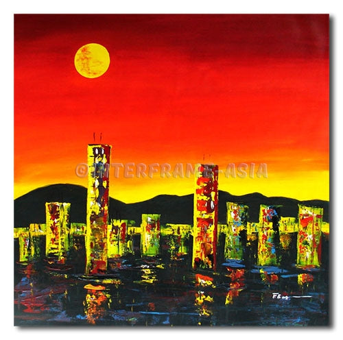 City under the Moon - Painting On Canvas at INTERFRAME-ASIA