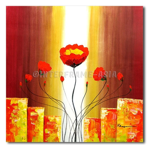 Fighting Poppies - Painting On Canvas at INTERFRAME-ASIA