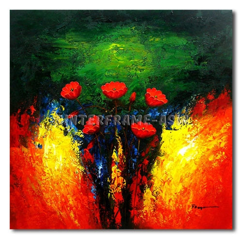 Poppies on Flames - Painting On Canvas at INTERFRAME-ASIA