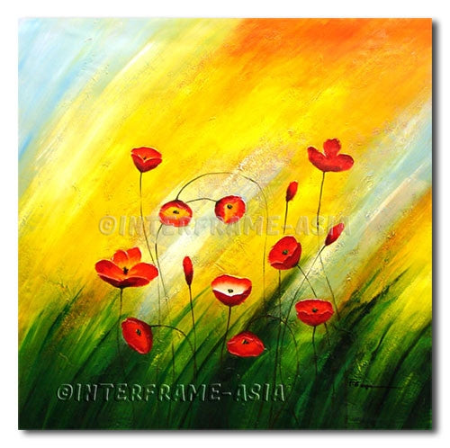 Lovely Poppies - Painting On Canvas at INTERFRAME-ASIA