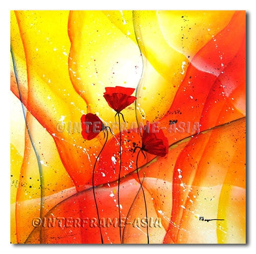 Inlove Poppies - Painting On Canvas at INTERFRAME-ASIA