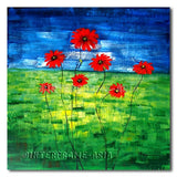 Red Daisies - Painting On Canvas at INTERFRAME-ASIA