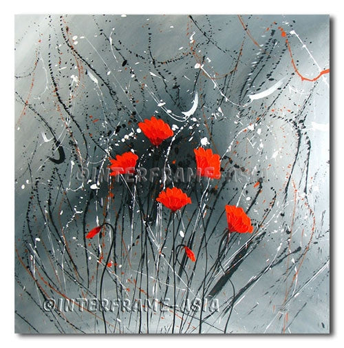 Reds in Sparkling Gray - Painting On Canvas at INTERFRAME-ASIA