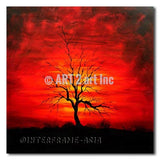 Black Tree on Red Sky - Painting On Canvas at INTERFRAME-ASIA