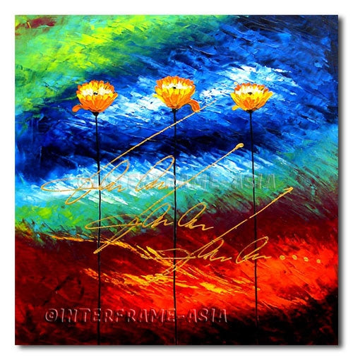 Gold Flowers - Painting On Canvas at INTERFRAME-ASIA