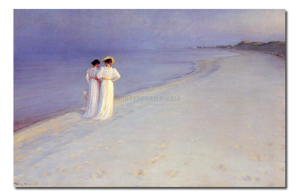 Summer Evening on the Skagen Southern Beach with Anna Ancher and Marie Krøyer - Painting On Canvas at INTERFRAME-ASIA