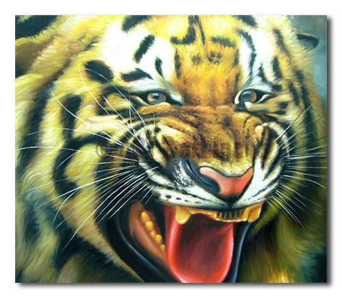 Roaring  Fearce Tiger - Painting On Canvas at INTERFRAME-ASIA
