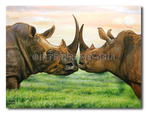 Horned Rhino - Painting On Canvas at INTERFRAME-ASIA