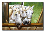 White Lucky Horses - Painting On Canvas at INTERFRAME-ASIA