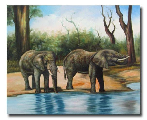 Thirsty Elephants - Painting On Canvas at INTERFRAME-ASIA