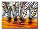 Thirsty Zebras - Painting On Canvas at INTERFRAME-ASIA