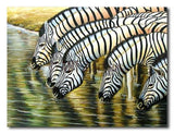 Drinking Zebras - Painting On Canvas at INTERFRAME-ASIA