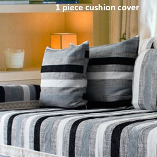 1 Piece Cotton/Polyester Sofa Cover Striped Print European Style Soft Slipcover Resistant Seat Couch Cover For Living Room Decor