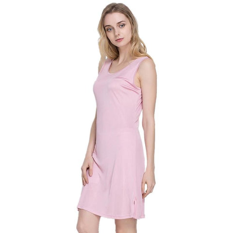 100% Pure Silk Women's Slips Female Long Silk Knitting Bottoming Casual Shoulder-Straps Women Sleeveless Sleep Slip Dress Ladies