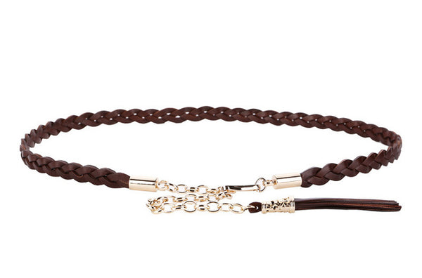 100% top layer leather belt Long Belt Cowhide Chain Women Decoration Waistband Rope Belt Tassel Straps Ceinture waistband