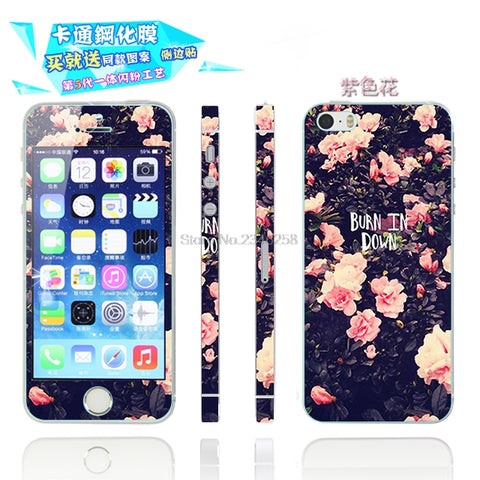 2 Pcs Printed Front & Back Tempered Glass Screen Protector Case Cover For iPhone 5S/SE Luxry Cute Full Body Film